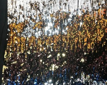 """Multi Color Ombre Reversible Flip Up Sequin Fabric Available By The Yard 55"""" Wide"""