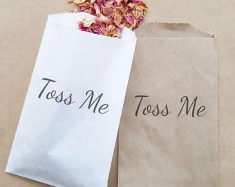 Wedding Confetti Paper Bag Stamped Toss Me Exit Ceremony Toss x 20