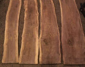 "4 Walnut Slabs Aprox 50"" x 15"" - 9"" Wide x .75"" Thick"