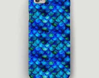 Mermaid iPhone 7 Case, Scale iPhone 6 Plus Case, Mermaid Phone Case, Watercolor iPhone 5S Case, Blue iPhone Cover, Apple Case, Mermaid Case