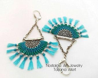 Macrame  earrings,  micro macrame,  boho  earrings,  Bohemian jewelry,  hippie earrings, alternative jewelry,