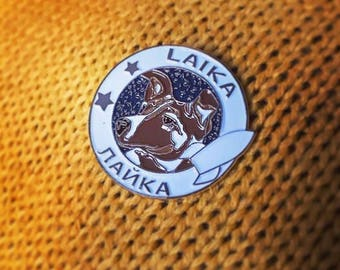 Laika enamel pin badge. Laika The Soviet Space Dog. Retro Vintage Atomic Galaxy Lapel Pin. Space NASA Stars Astrology Astronomy