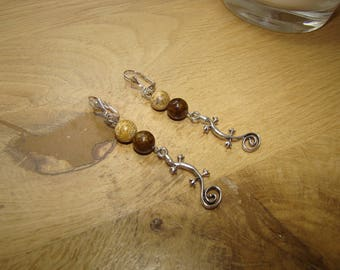 Natural stones of Jasper and jade coffee and djeco earrings