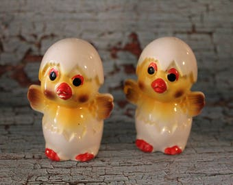 Vintage Hatching Chick in Egg Salt and Pepper Shakers