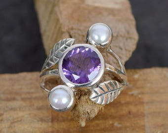Hand Crafted Natural African Amethyst and Fresh Water Pearl Solid 925 Sterling Silver unique Design Ring Silver Ring Jewelry