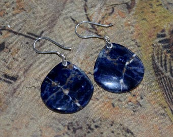 Natural Sodalite Earrings~ Matched Pair Earrings, Artisan Earrings~ Blue Stone Dangling Earrings~ Silver Earrings