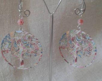 """pastel multicolor tree"" earrings"