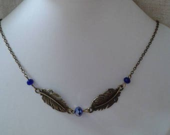 """necklace """"duo of leaves and blue beads"""""""