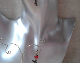 "Earrings ""ears""bronze and Red woman"""