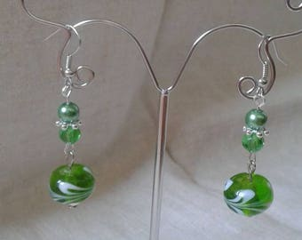 """""""spiral green and White Pearl"""" earrings"""