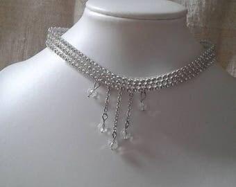 "crew neck ""Ribbon rhinestone and transparent beads"""