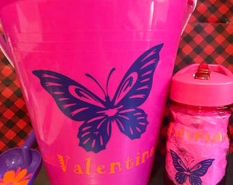 Personalized Beach Sand Pail Bucket and Water Bottle Combo, Butterfly Beach Sand Pail