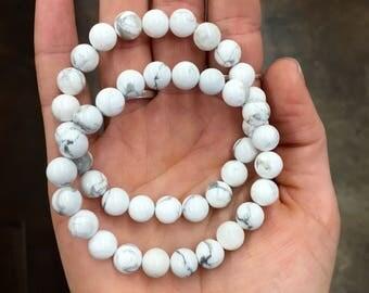 Healing White Howlite || Women's Yoga Bracelet || Stackable Beaded Bracelet|| Single Bracelet ||