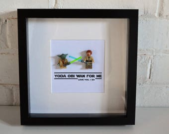 Shadow Box Frame//Star Wars//Yoda//Obi Wan//Minifigures//Gift//Personalise//Geek//Love//Couples//Friends//Fathers Day//Anniversary//Birthday
