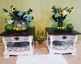 Upcycled Vintage Ethan Allen (Pair) End Tables