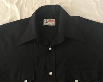 1970s bronco western dress shirt pearl snap 15 1/2 medium