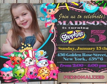 SALE 20 % Shopkins Invitation, Shopkins Invite, Shopkins Birthday Party, Personalized, Printable, Digital file, Thank you card free