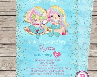 Mermaid Under the Sea Spa Party Watercolor Birthday Party Invitation Front Back Digital File Prints Pool Party Makeup Glamour Rainbow Hair