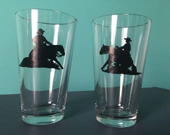 Hand painted reining pint glasses