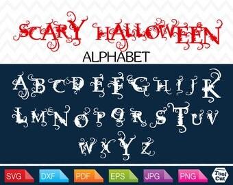Halloween Alphabet Svg Halloween Initials Svg Halloween Monogram Font Svg Cuttable Letters Svg Scary Design Cricut Fonts Dxf Silhouette