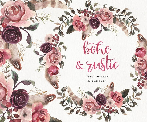 Watercolor Boho And Rustic Wreath Amp Bouquet Wedding