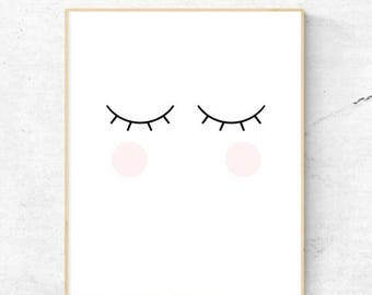 On Sale Blink Cheeks Eyelash Wall Art, Nursery Wall Art, Child's Room Wall Art, Lashes - Instant Download