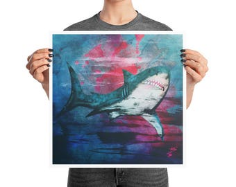 Blue Great White Shark Poster, 10x10, 12x12, 16x16, 18x18, Boho Decor, Abstract Ink, Square Print