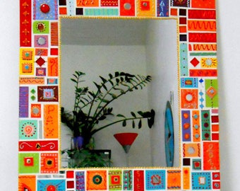 """colorful mosaic mirror """"patches Gaia"""" 60x70cm for the bathroom or home"""