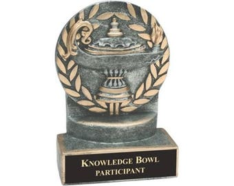 """4 1/4"""" Pewter/Gold Lamp of Knowledge Resin Award with Custom Engraved Plate"""