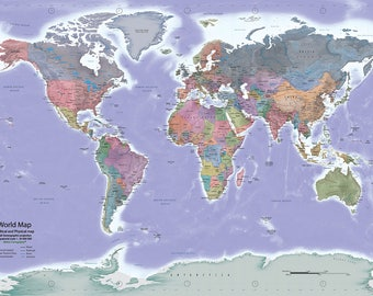 Instant Download - World Map -  Political and Physical - 27x40 inches print dimensions