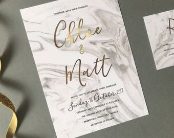 Gold Foil Grey Marble Wedding Invitation and RSVP - Modern Calligraphy Wedding Invite