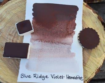 Blue Ridge Violet Hematite. Half pan, full pan or bottle cap of handmade watercolor paint