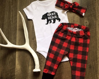 Baby Bear Going Home Outfit // Top Knot Beanie or Top Knot Headband, Leggings & Onesie