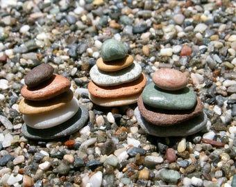 Dollhouse Miniature Zen Beach Stones Mini Zen Garden Mediterranean Sea Zen Cairn,Fairy Garden Mini Japanese Garden Ornaments 1/12 Scale