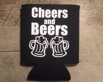 Bachelor Party Can Coolers - Cheers and Beers Bachelor Can Coolers - Bachelor Party Gifts- Customized Favors- Beer Bachelor Party Can Cooler