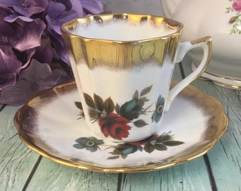 Deep Red Roses Heavy Gold Trim Numbered Scalloped Teacup Saucer Set Made in England by Royal Dover Vintage Fine Bone China Porcelain Lovely