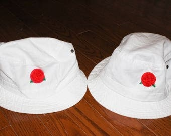 Rose Embroidered Bucket Hat