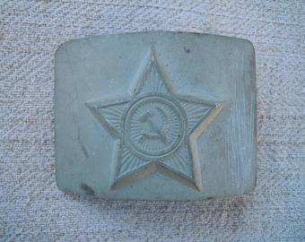 Military steel buckle. Metal vintage soviet ussr.