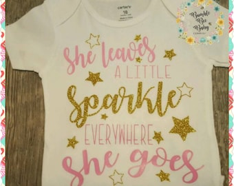 Infant Girl, Baby Girl, Toddler, Baby, Sparkle, Gold, Stars, Coming Home or Shower Gift, A Great Addition To Any Girls Closet