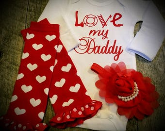 Preemie, Newborn, and Up, Love My Daddy, Fireman, Firefighter, Onesie, Leggings and Bow Set - Great Baby Shower Gift