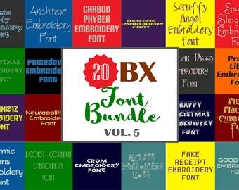 Machine Embroidery Fonts - 20 BX Font Bundle - Volume 5