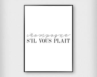 Champagne S'il Vous Plait Print | Kitchen | Black - White | Typography - Celebration - Poster