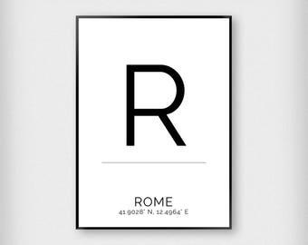 Rome | City | Black and White | Coordinates - Fashion - Poster