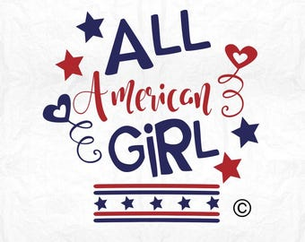 all american girl SVG Clipart Cut Files Silhouette Cameo Svg for Cricut and Vinyl File cutting Digital cuts file DXF Png Pdf Eps