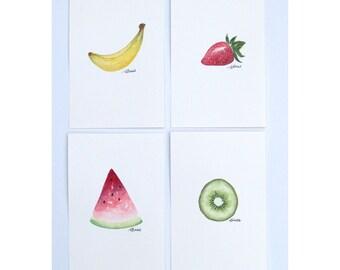 Watercolour Fruits - Set of 4
