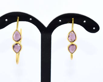 Amethyst hoop earrings , gold plating  earrings, hoop earring ,  Amethyst earring ,  birthstone of February, purple color earring , amethyst