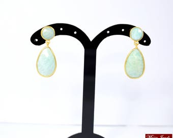 Amazonite stud,gold plating earring, gemstone earring beautiful gift,green color earring,natural stone earring drop stud ,