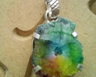Dyed Chakra Solar Quartz Pendant Reiki Charged Crystal Healing Wicca Pagan