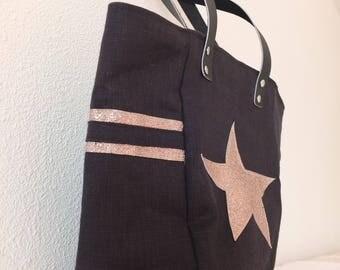Black linen bag.