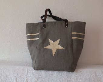 Taupe and Golden embellishments linen tote bag.